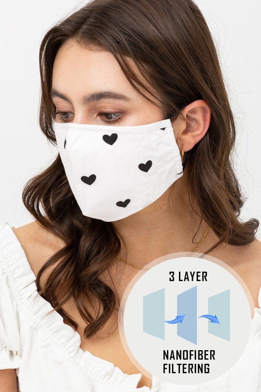 White Tiny Hearts Face Mask with Built In Micro Filter and Nose Bar