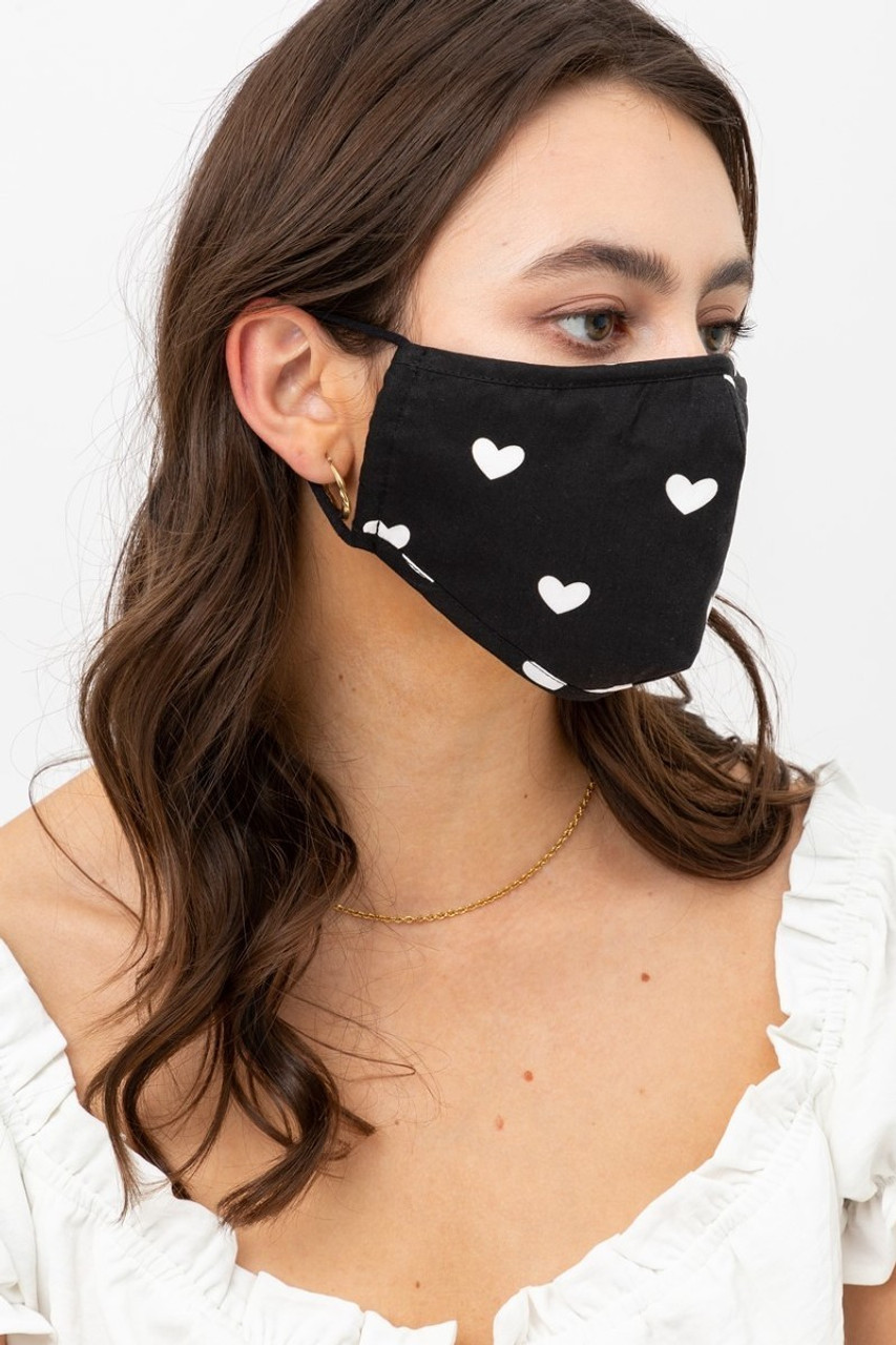 Right side view of Black Tiny Hearts Face Mask with Built In Micro Filter and Nose Bar