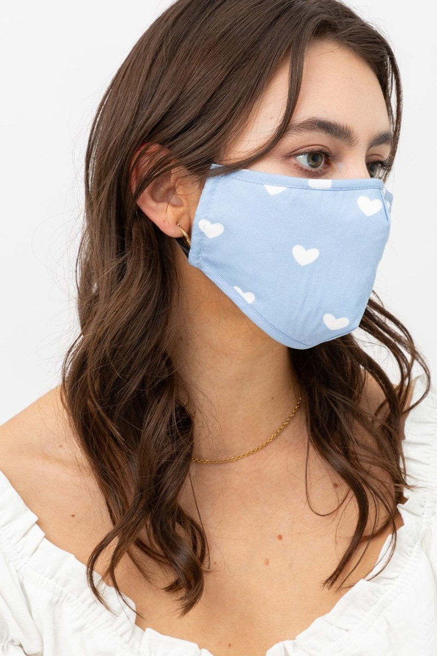 Right side view of Blue Tiny Hearts Face Mask with Built In Micro Filter and Nose Bar