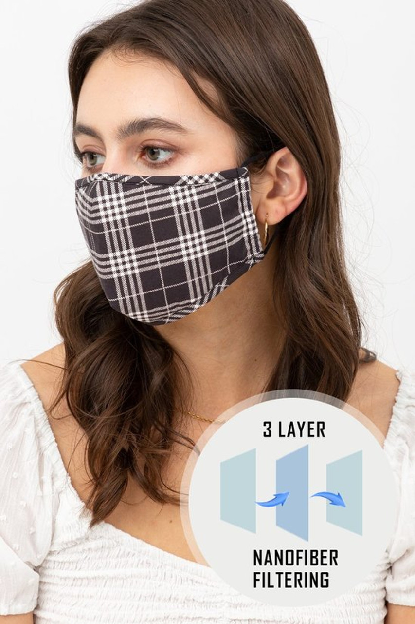 Left side view of Black Plaid Face Mask with Built In Micro Filter and Nose Bar