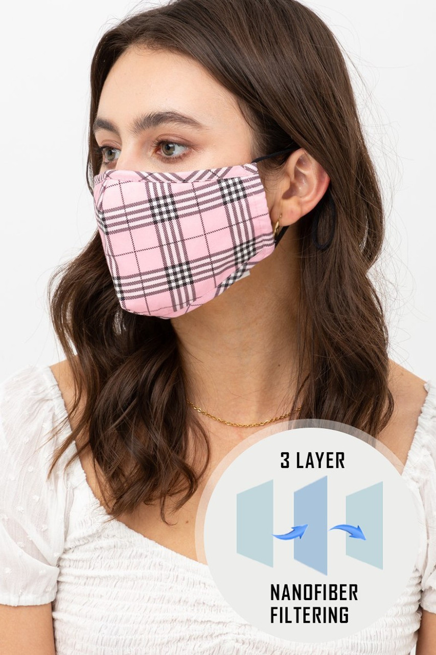 Left side view of Pink Plaid Face Mask with Built In Micro Filter and Nose Bar