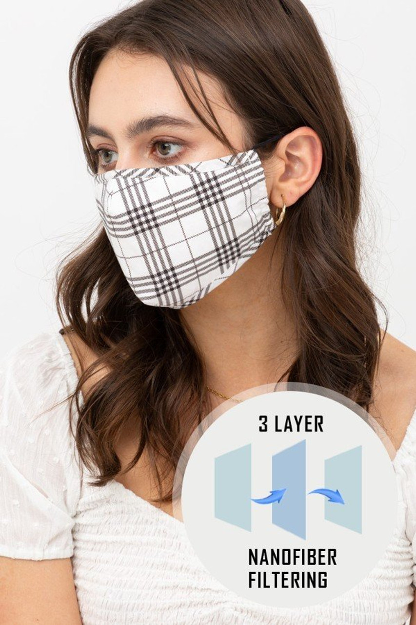 Left side view of White Plaid Face Mask with Built In Micro Filter and Nose Bar