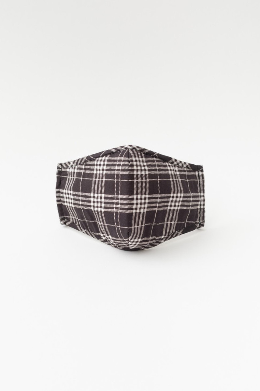 Stand alone view of Black Plaid Face Mask with Built In Micro Filter and Nose Bar
