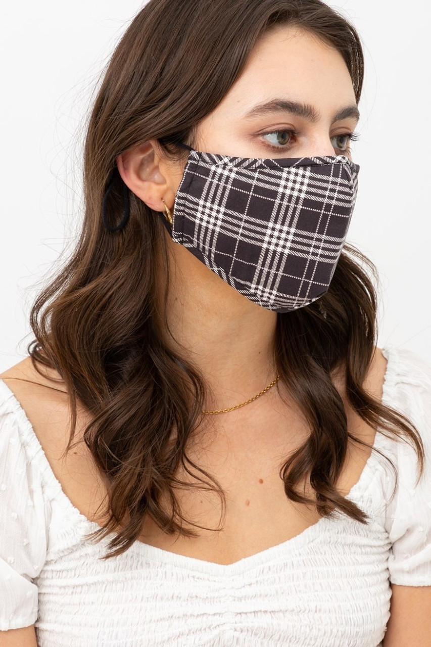 Right side view of Black Plaid Face Mask with Built In Micro Filter and Nose Bar