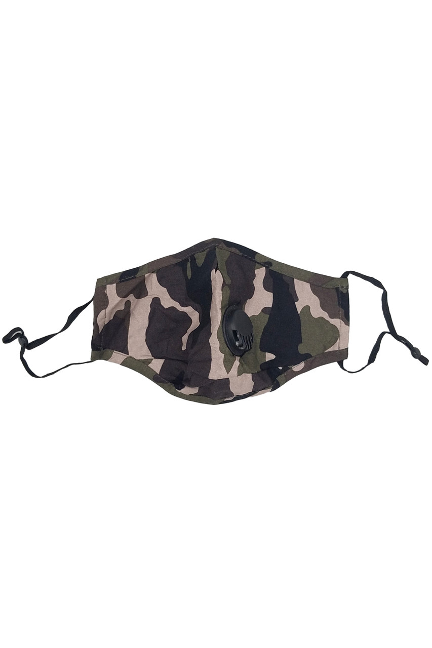 Stand alone image of Camouflage Air Valve Face Mask with Nose Bar with a classic olive, black, and beige color scheme and adjustable ear strings.