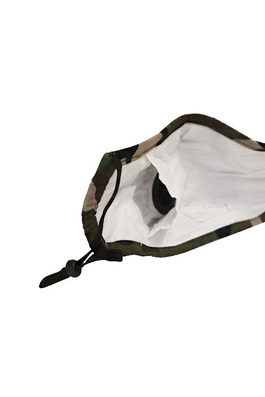 Inner view of Camouflage Air Valve Face Mask with Nose Bar showing the PM2.5 filter pocket.