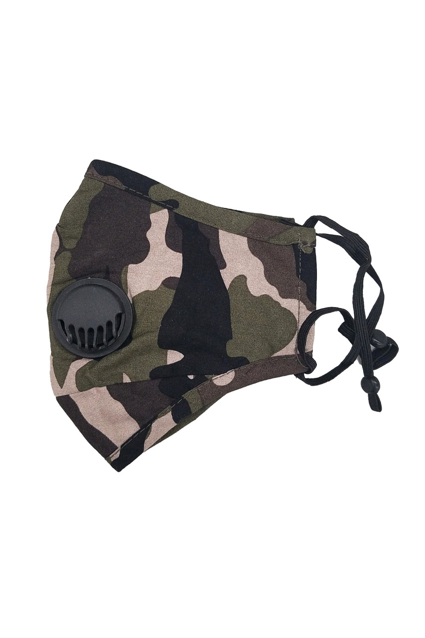 Left side folded view of Camouflage Air Valve Face Mask with Nose Bar