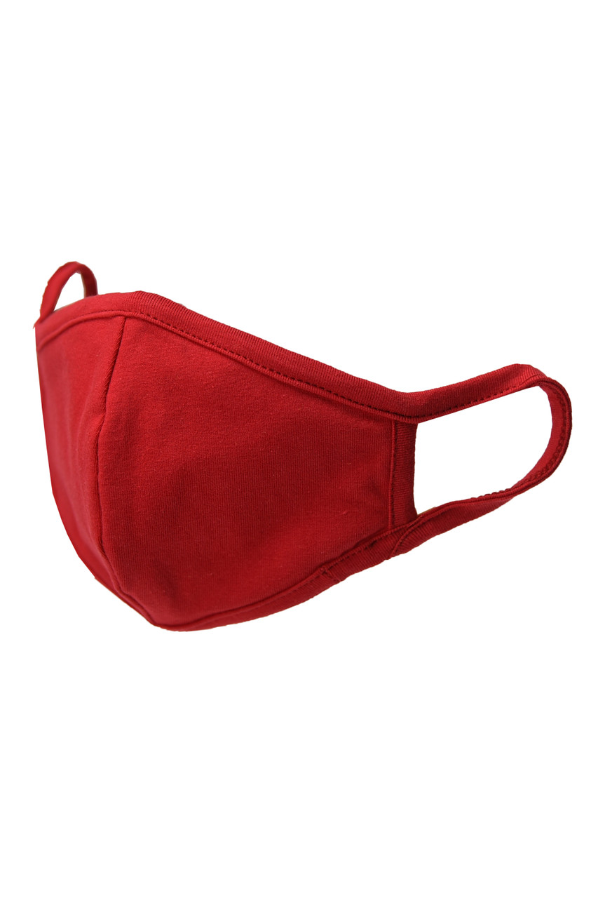 Red Kid's Solid Cotton Face Masks - Made in USA - BULK