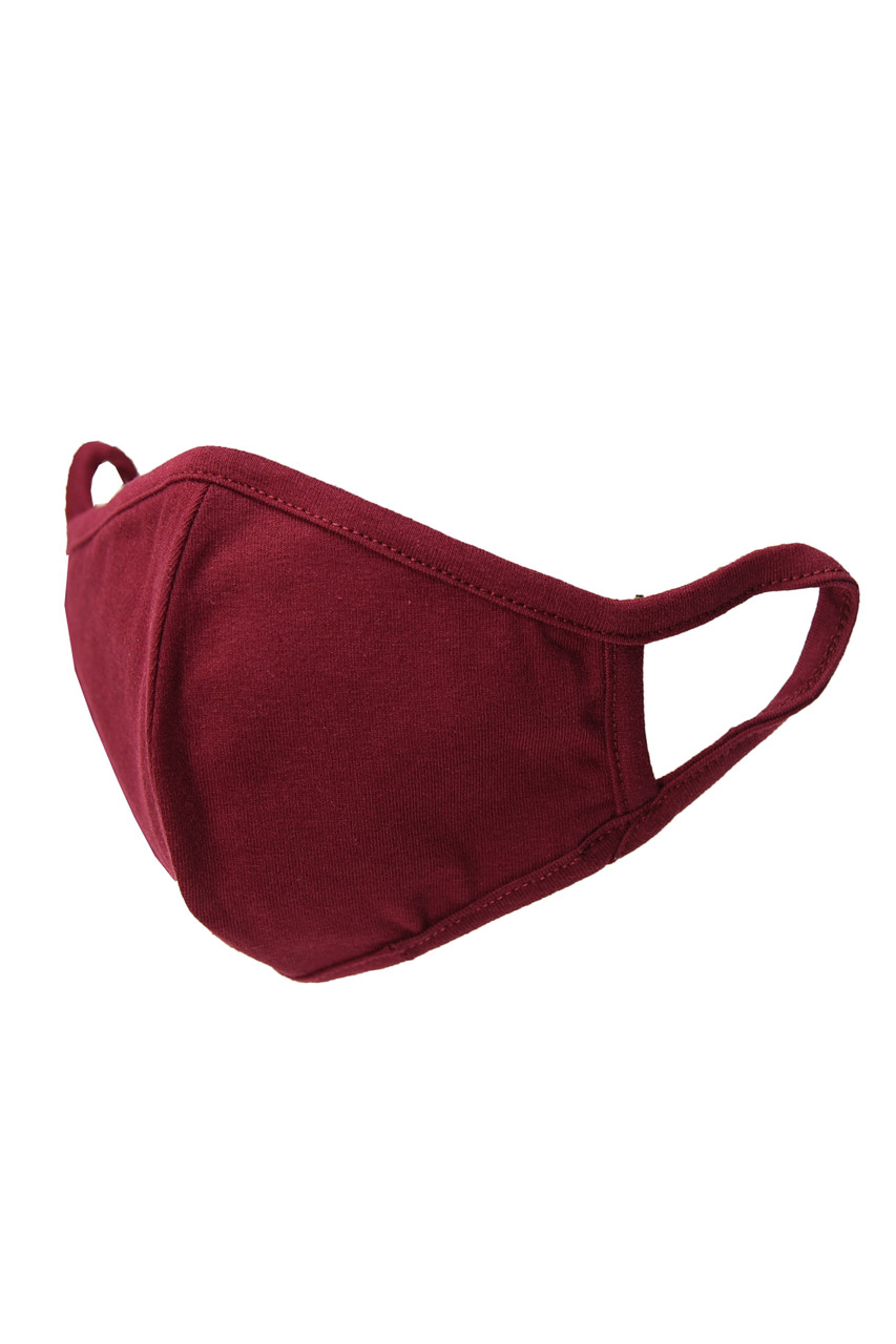Burgundy Kid's Solid Cotton Face Masks - Made in USA - BULK
