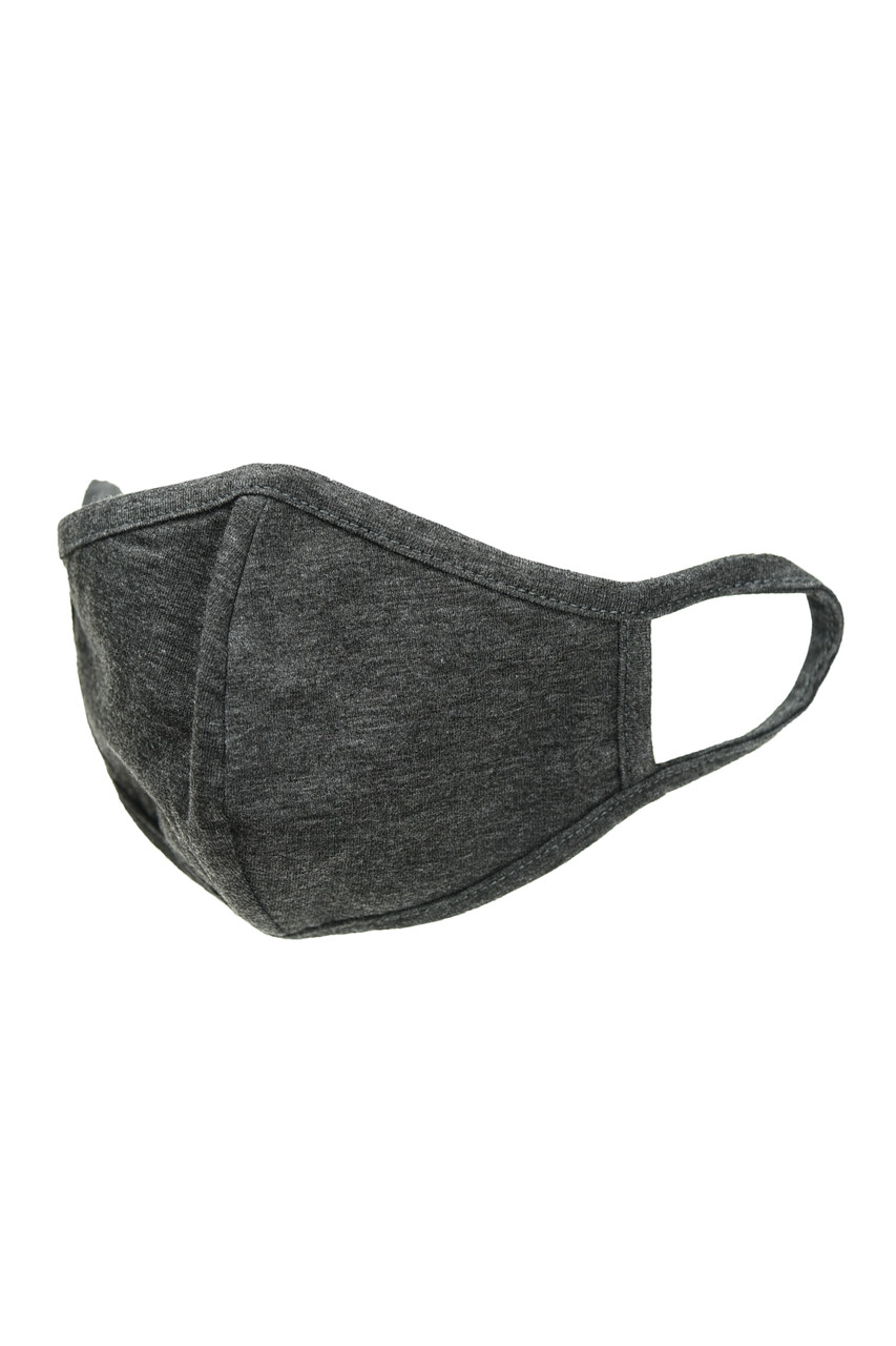 Charcoal Kid's Solid Cotton Face Masks - Made in USA - BULK