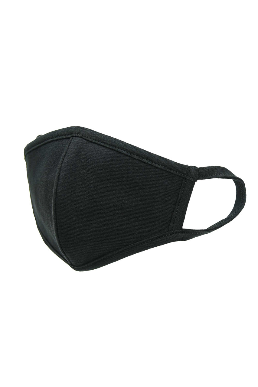 Black Kid's Solid Cotton Face Masks - Made in USA - BULK