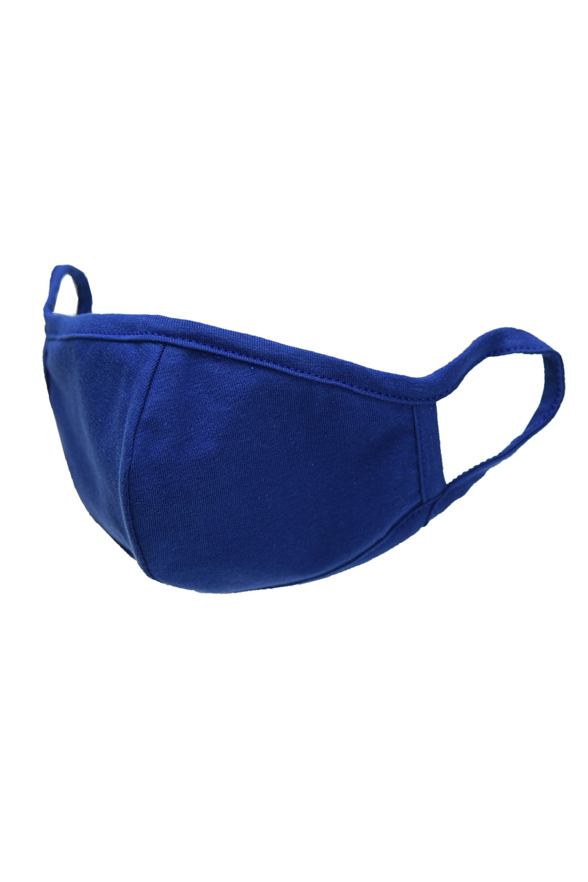 Blue Kid's Solid Cotton Face Masks - Made in USA - BULK