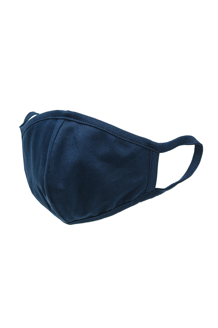 Navy Kid's Solid Cotton Face Masks - Made in USA - BULK