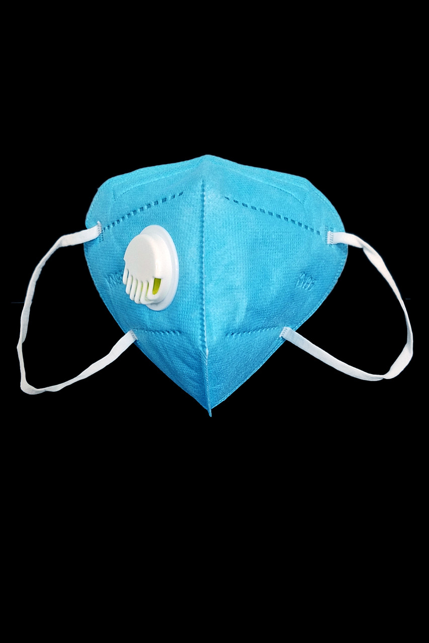 Front facing stand alone view of Blue KN95 Face Mask with Air Valve