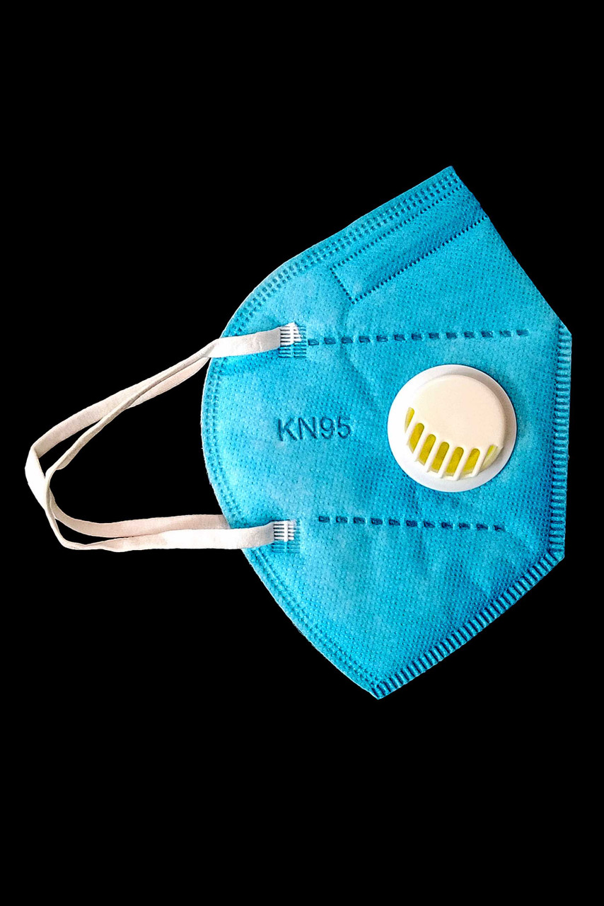 Right side view of Blue KN95 Face Mask with Air Valve