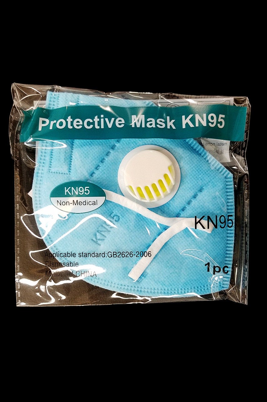 Packaged Blue KN95 Face Mask with Air Valve