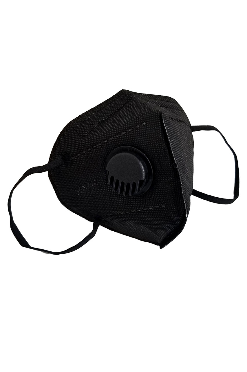 Stand alone image of Black KN95 Face Mask with Air Valve