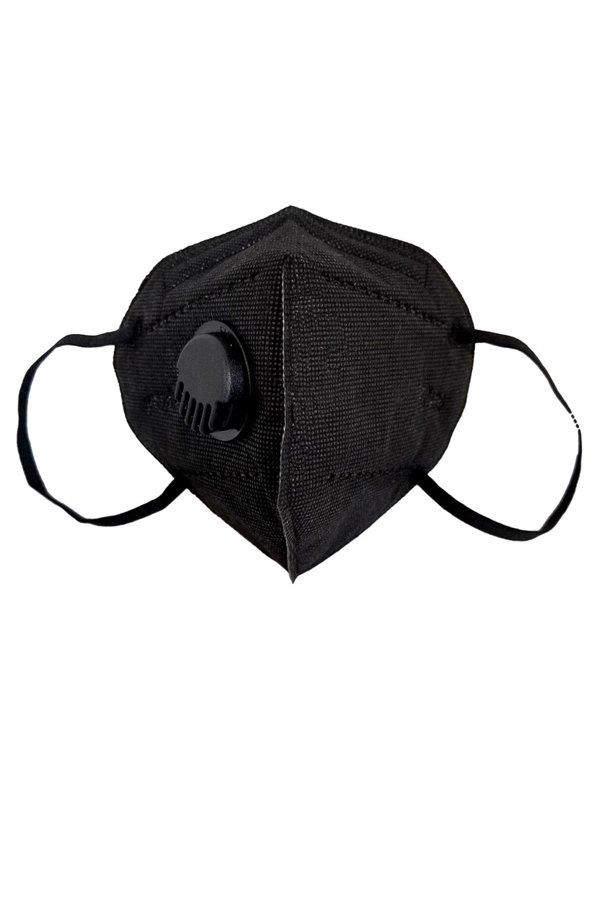 Front facing view of Black KN95 Face Mask with Air Valve