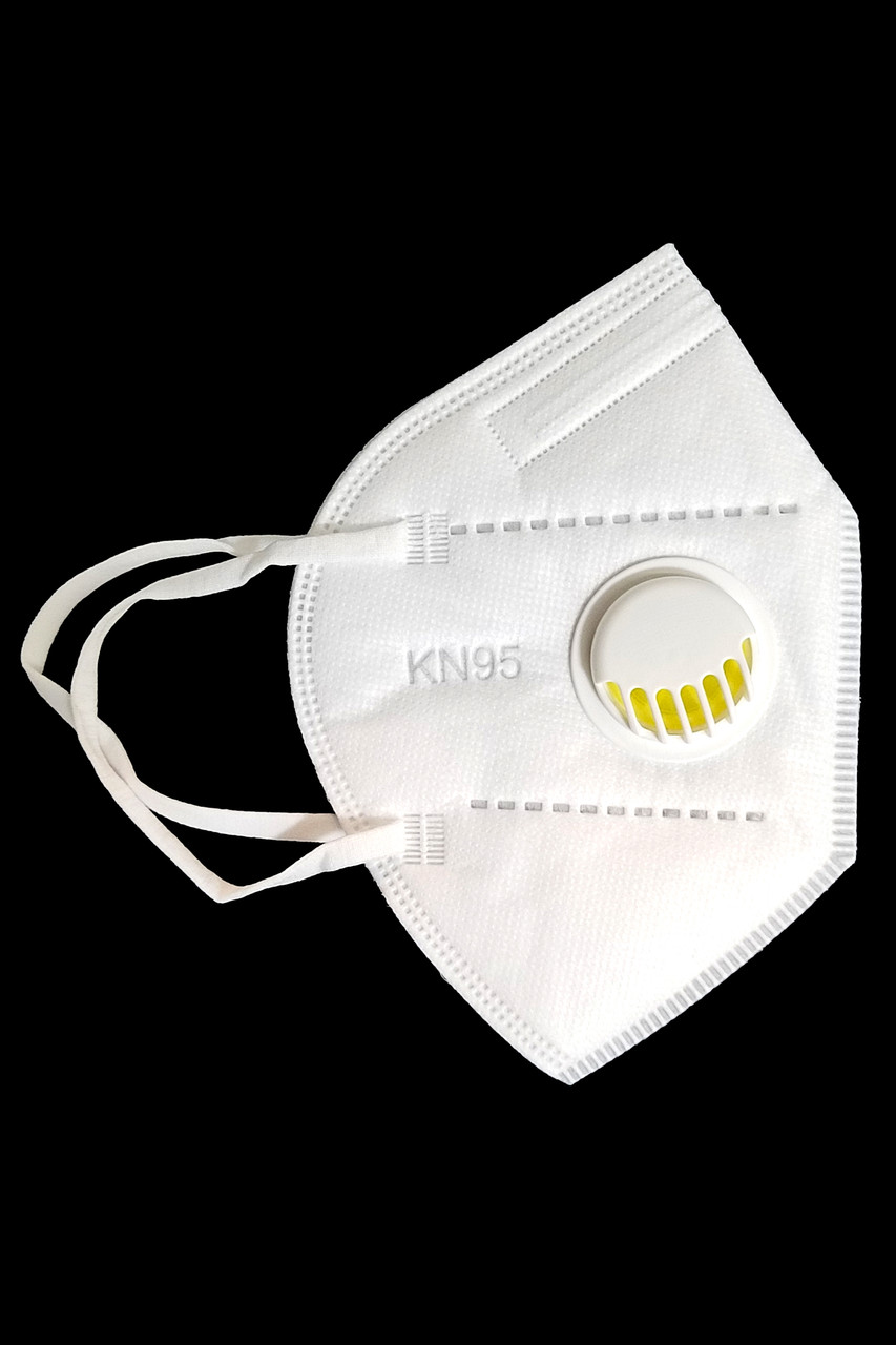 Right side view of White KN95 Face Mask with Air Valve - Individually Wrapped