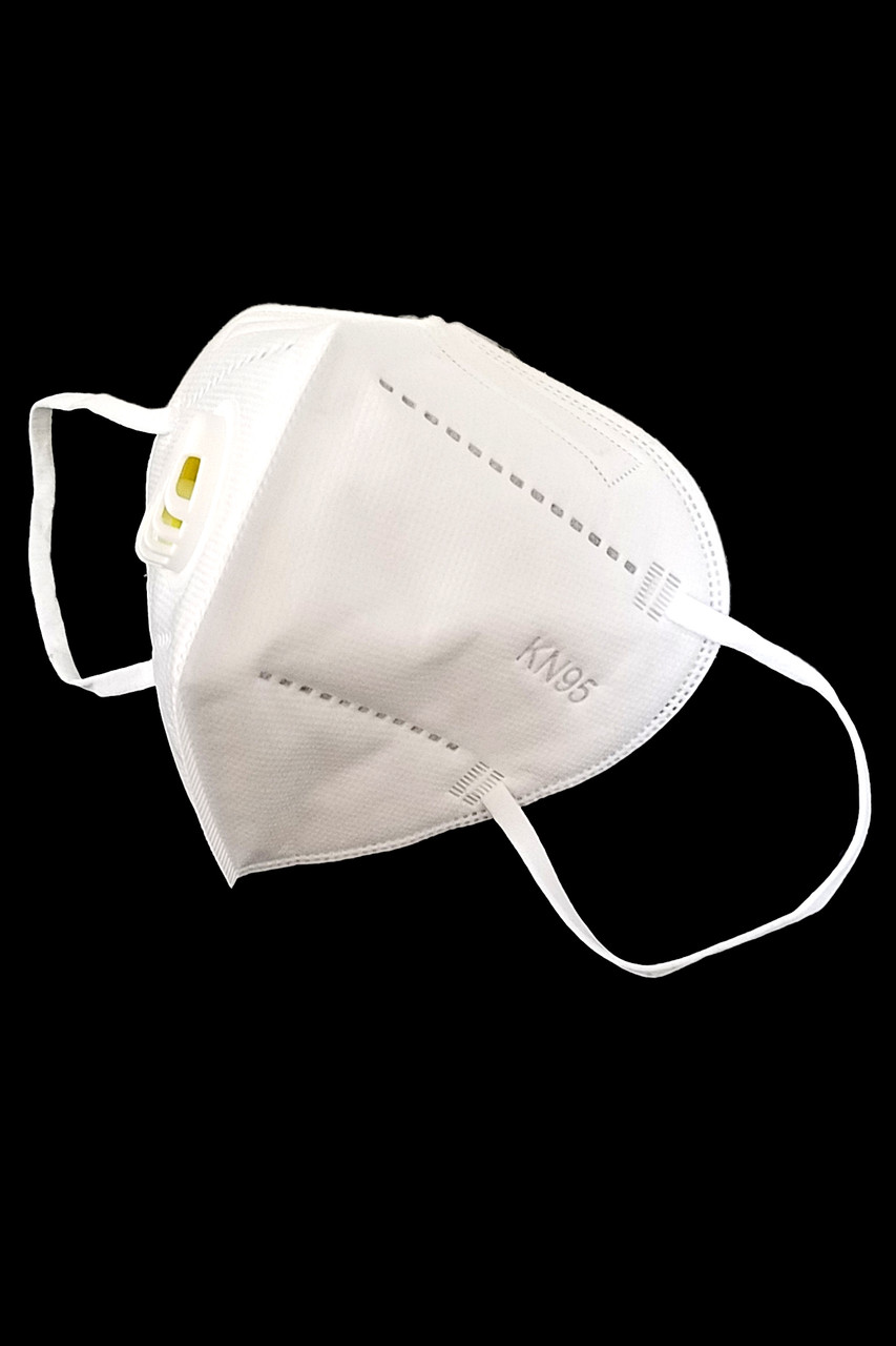 Left side view of White KN95 Face Mask with Air Valve - Individually Wrapped
