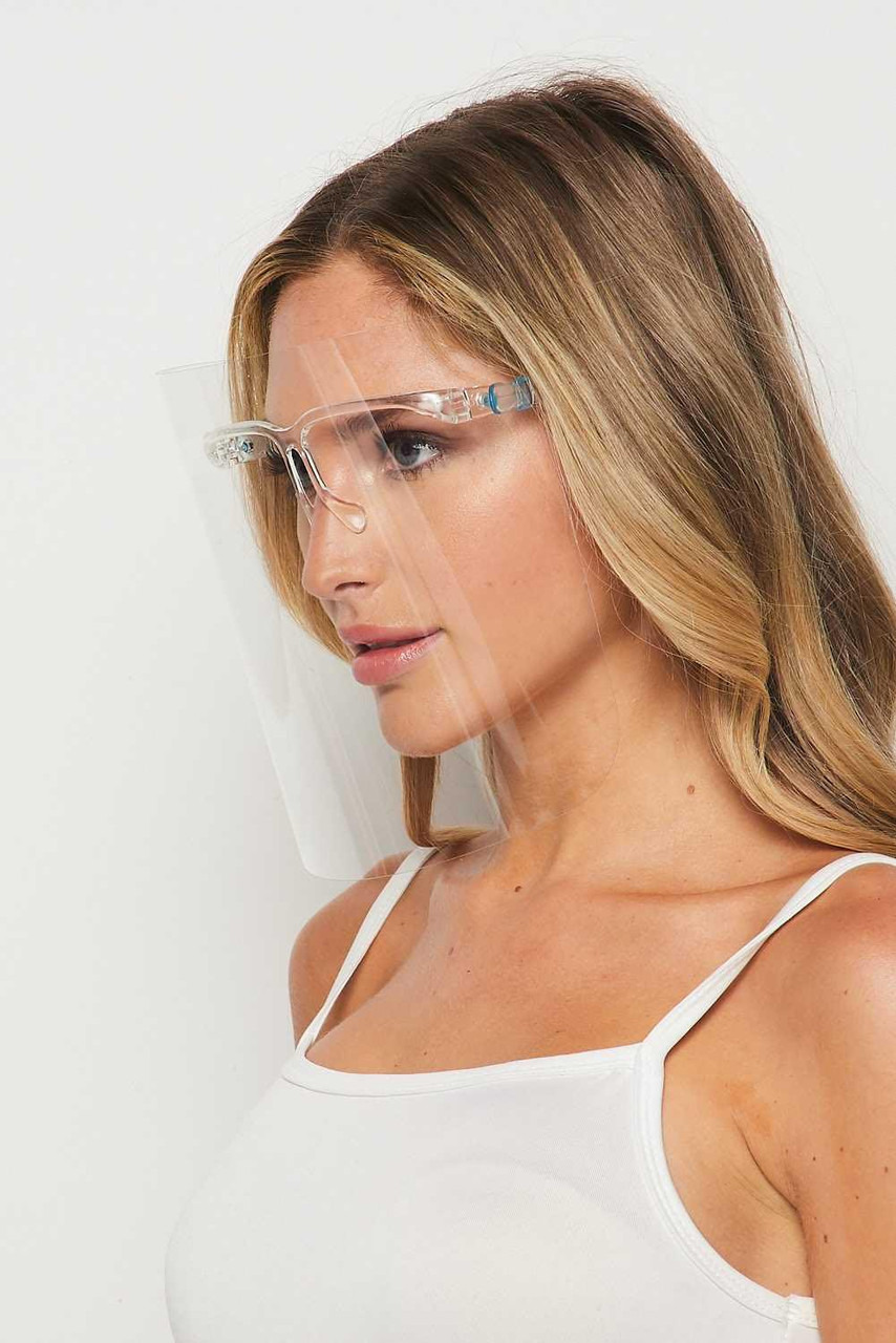 Left side view of 20 Pack - Detachable Full Transparent Face Shield - Clear Colored Support Glasses