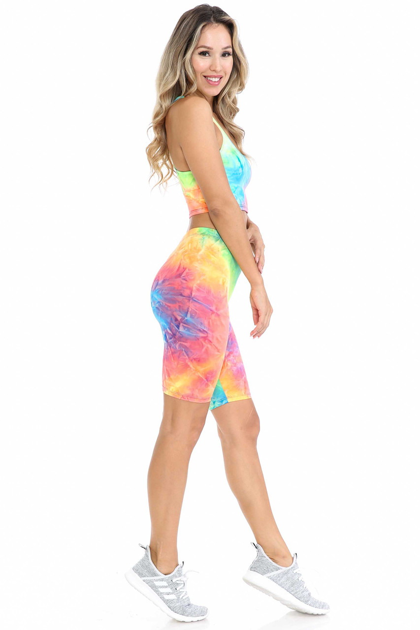 Right side view of Neon Tie Dye 2 Piece Shorts and Cropped Bra Top Set