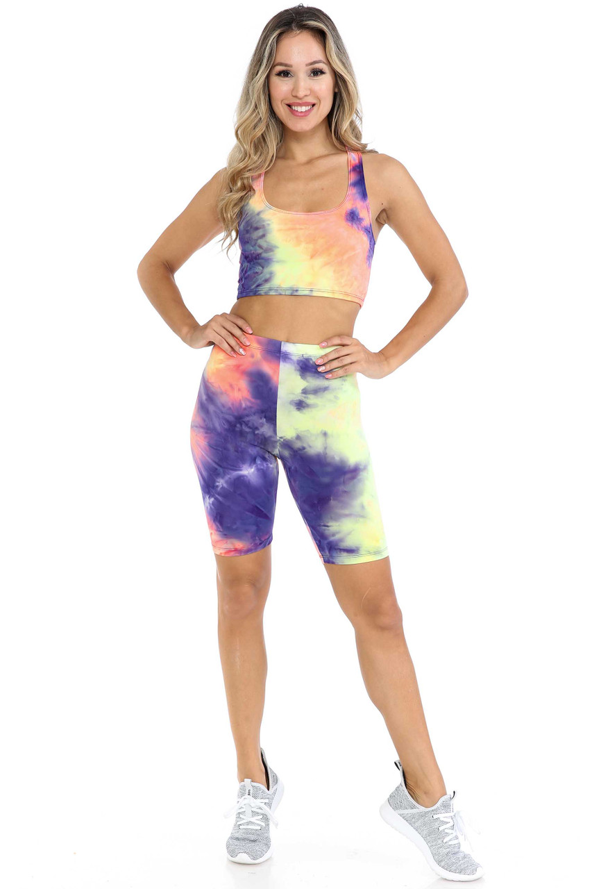 Front view of Indigo Tie Dye 2 Piece Shorts and Cropped Bra Top Set featuring an indigo, yellow, and coral color scheme.