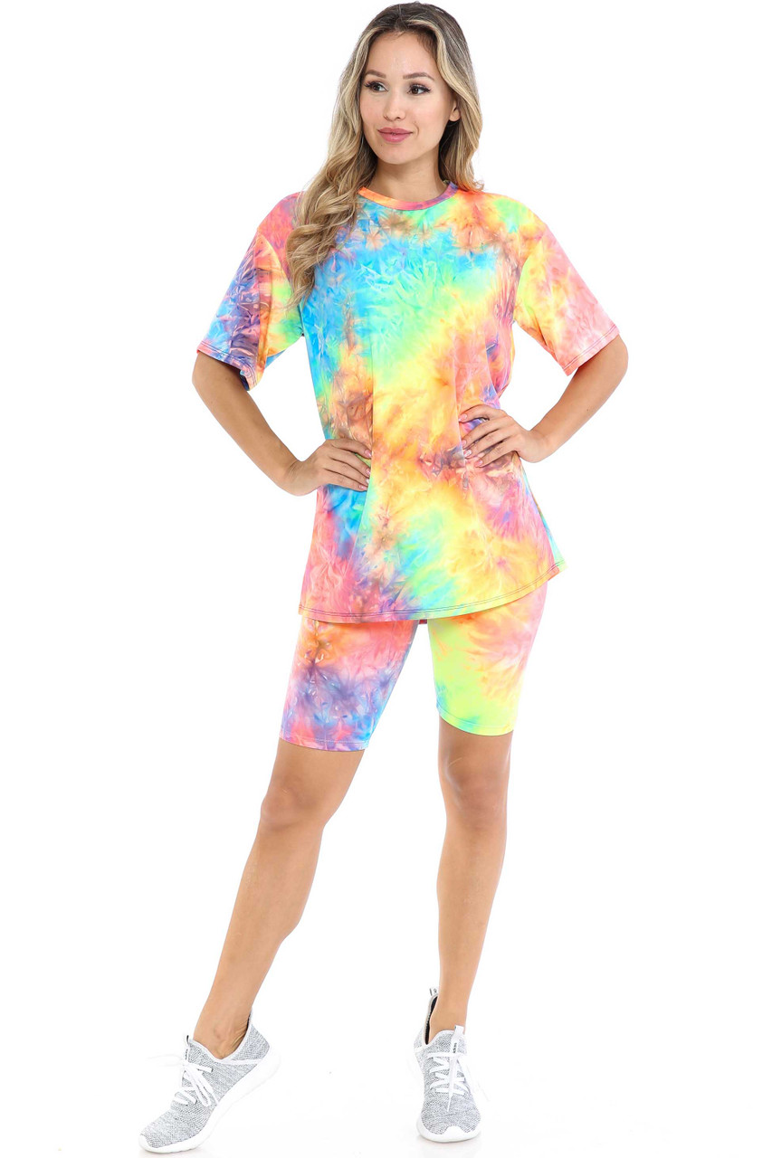 Front view of Neon Tie Dye 2 Piece Shorts and T-Shirt Set with a vibrant rainbow color scheme.
