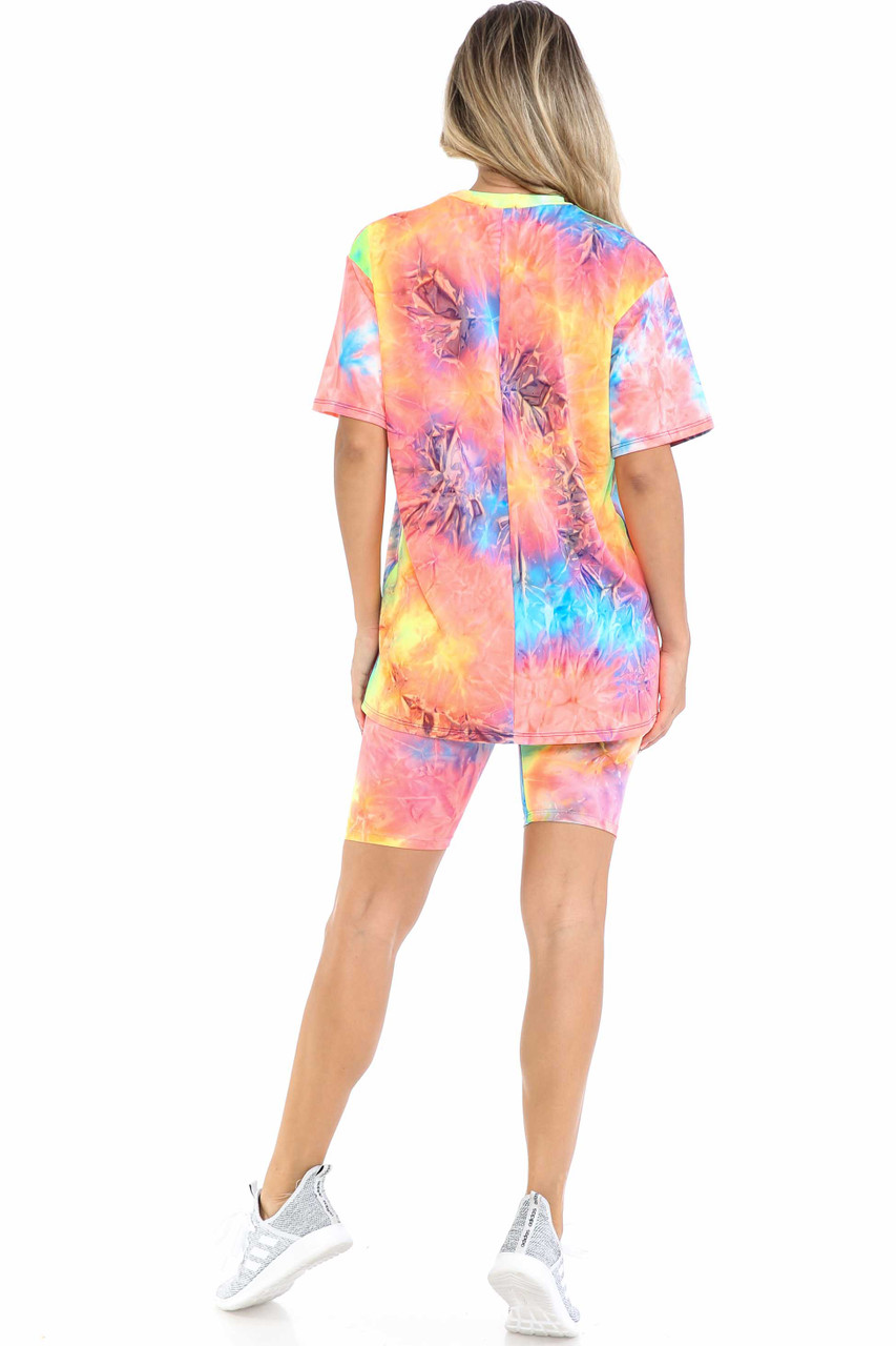 Back view of Neon Tie Dye 2 Piece Shorts and T-Shirt Set shown styled with light gray sneakers.