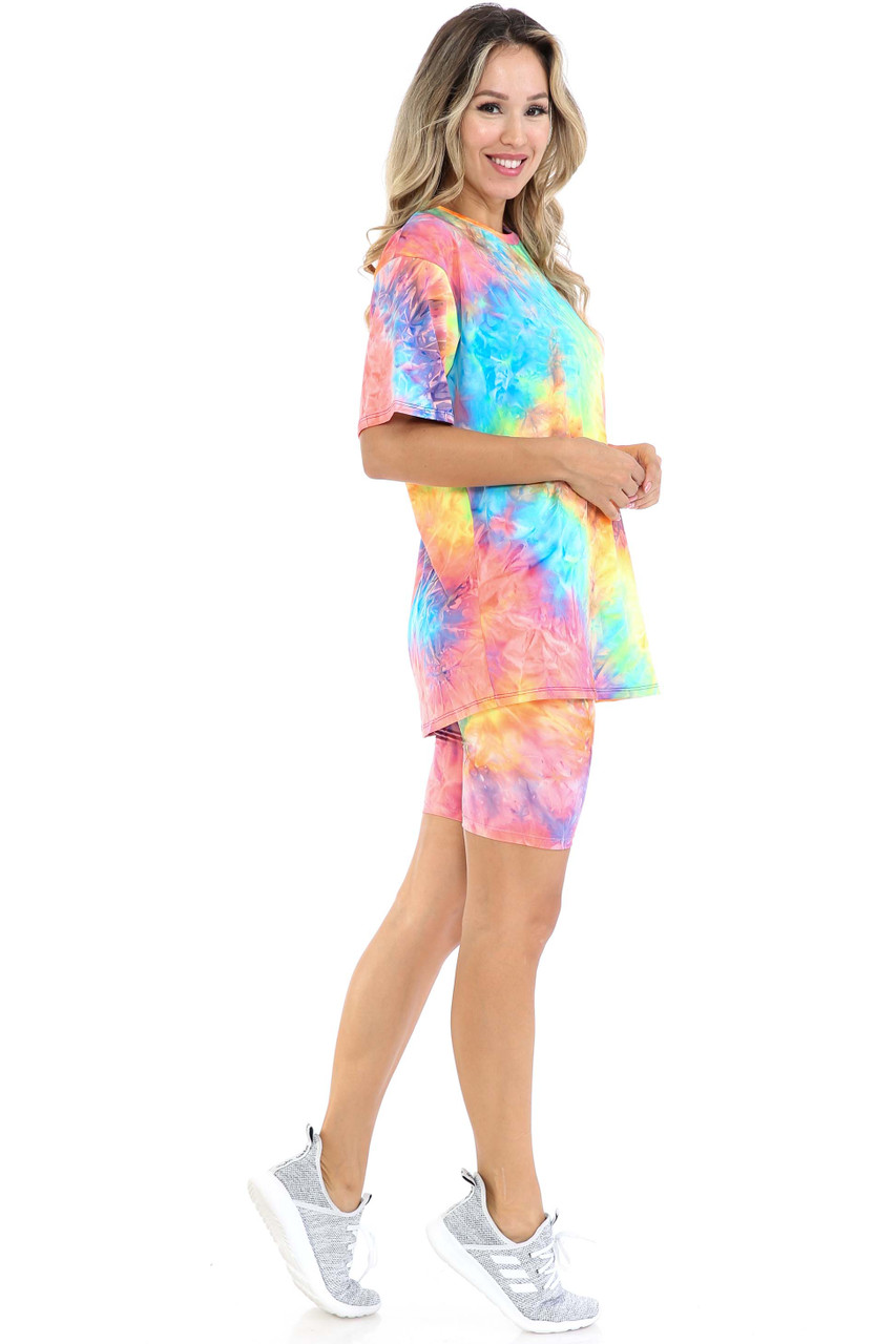 Right side view of Neon Tie Dye 2 Piece Shorts and T-Shirt Set