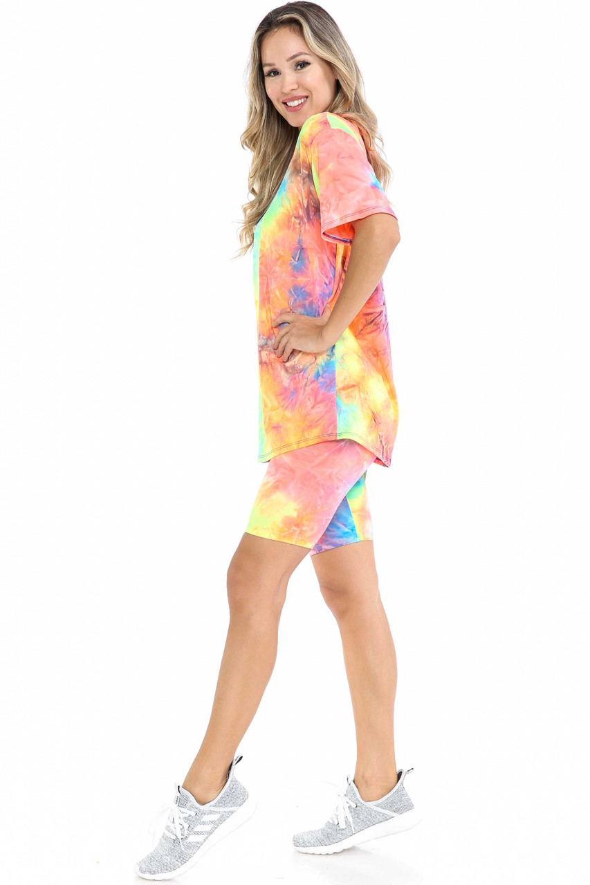 Left side view of Neon Tie Dye 2 Piece Shorts and T-Shirt Set