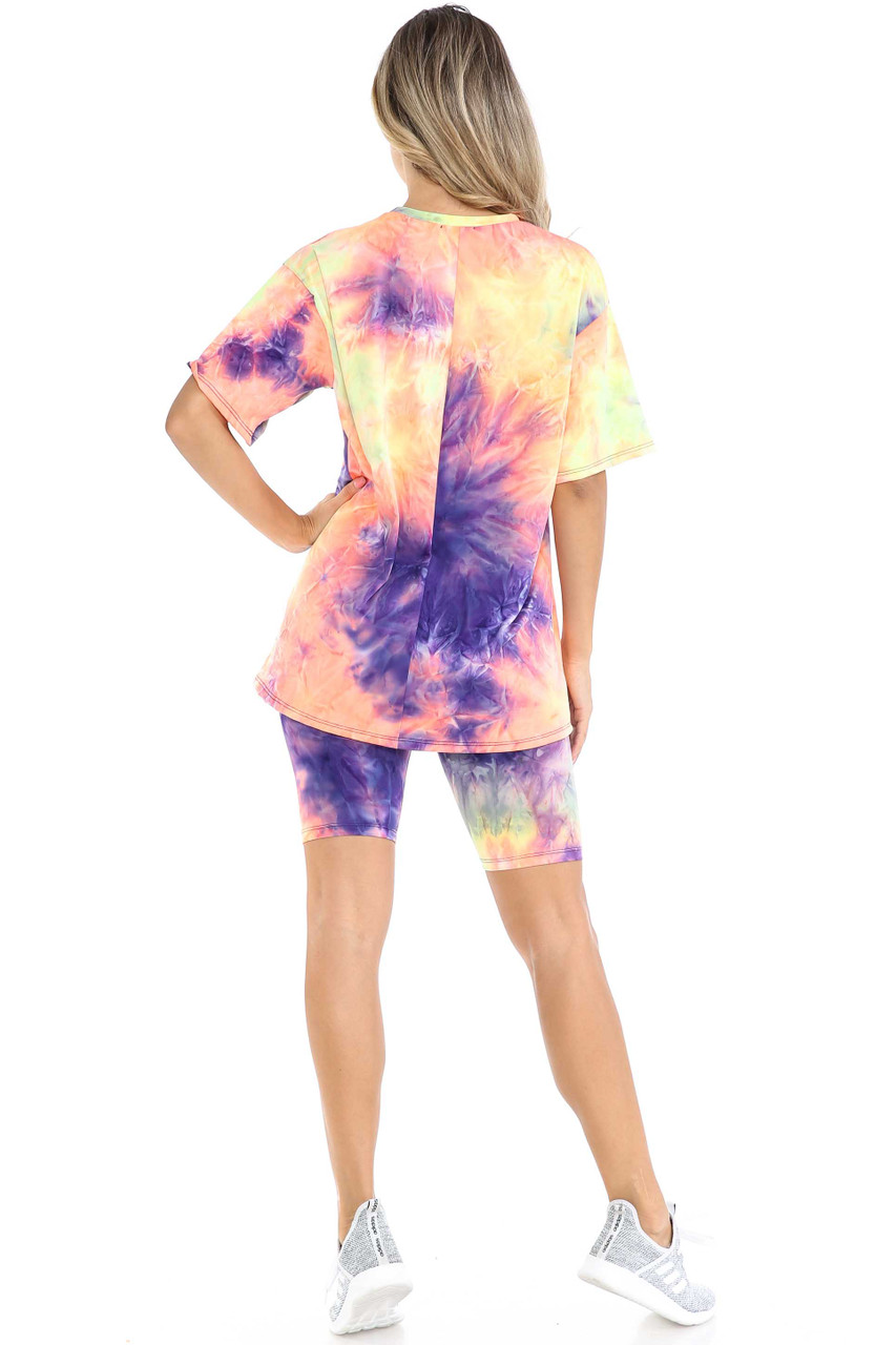 Rear view of Indigo Tie Dye 2 Piece Shorts and T-Shirt Set shown styles with light gray sneakers.