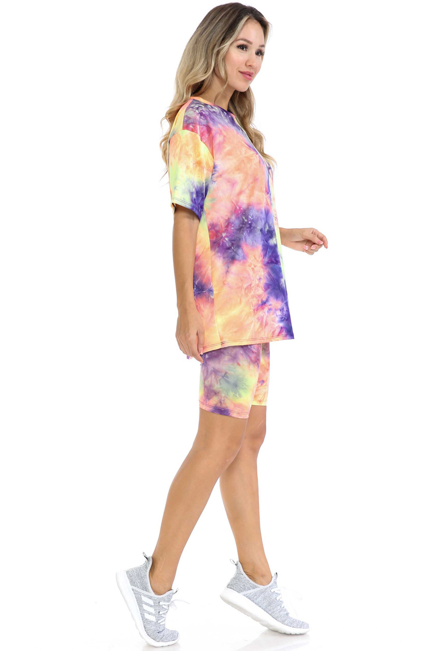 Right side view of Indigo Tie Dye 2 Piece Shorts and T-Shirt Set
