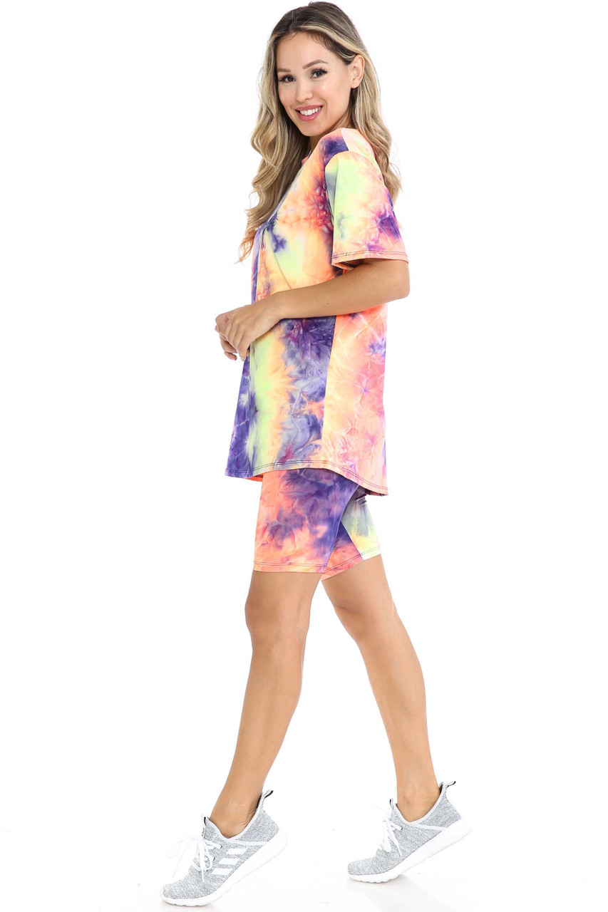 Left side view of Indigo Tie Dye 2 Piece Shorts and T-Shirt Set