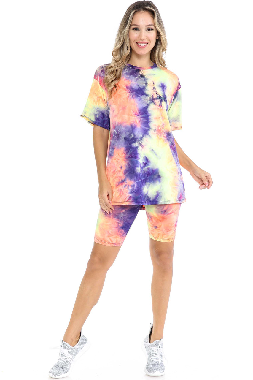 Front image of Indigo Tie Dye 2 Piece Shorts and T-Shirt Set