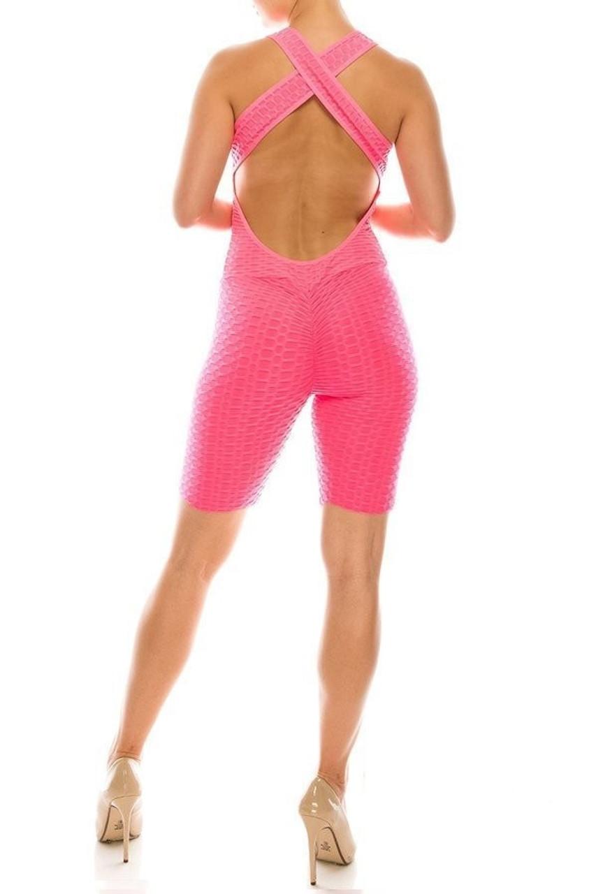 Rear view of Neon Pink Premium Criss Cross Scrunch Butt Biker Short Bodysuit featuring an open back with crisscrossed straps.