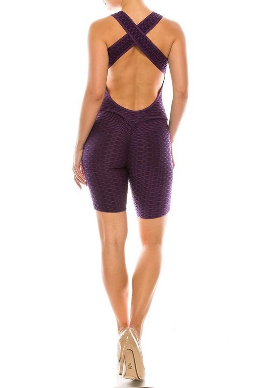 Rear view of Purple Premium Criss Cross Scrunch Butt Biker Short Bodysuit