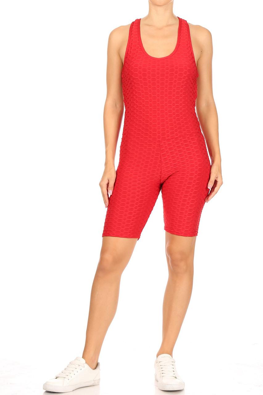 Front of Red Premium 1 Piece Criss Cross Scrunch Butt Biker Short Bodysuit