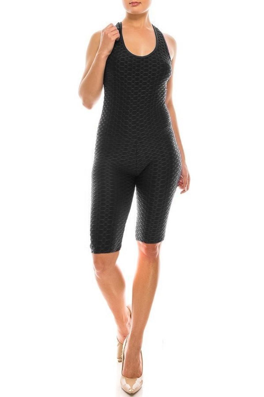 Front of Black Premium Criss Cross Scrunch Butt Biker Short Bodysuit