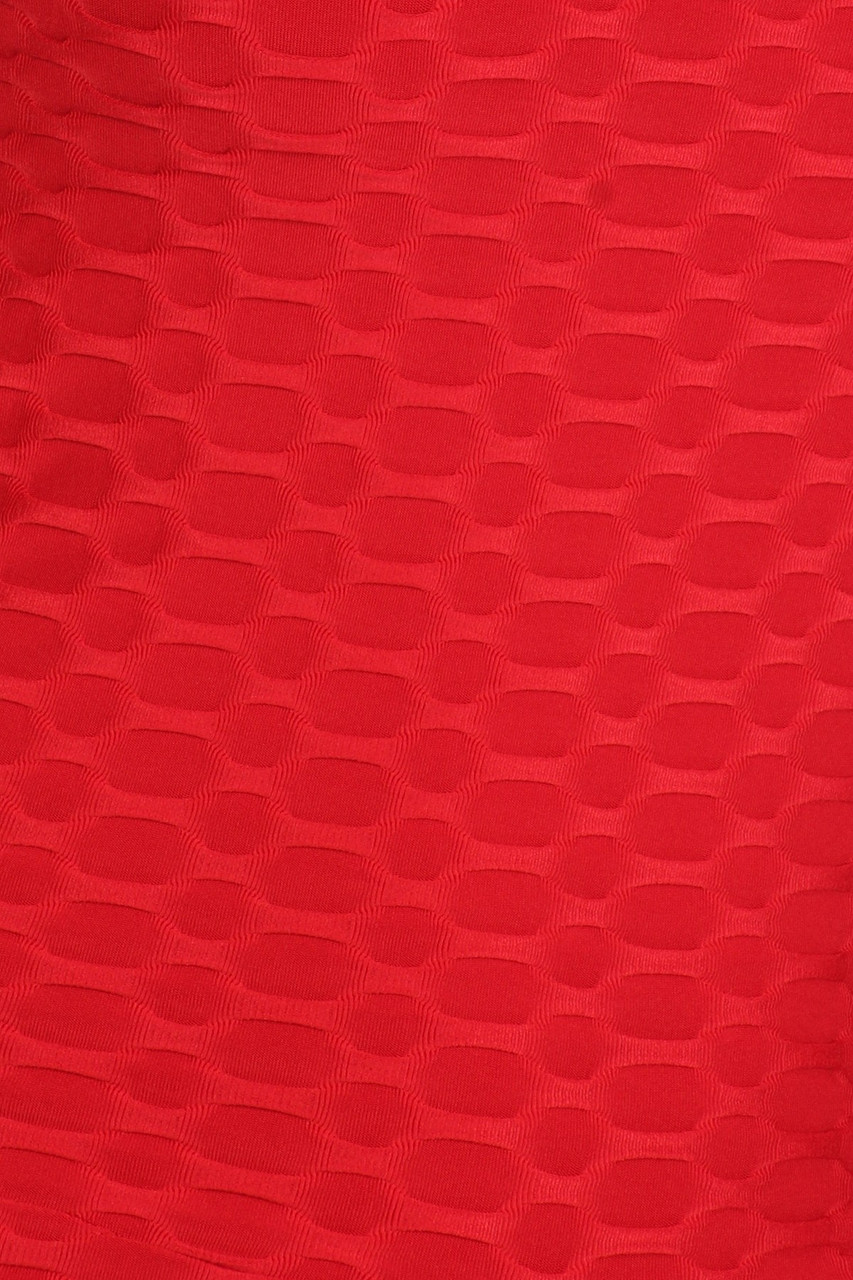 Close up swatch of Red Premium Criss Cross Scrunch Butt Biker Short Bodysuit