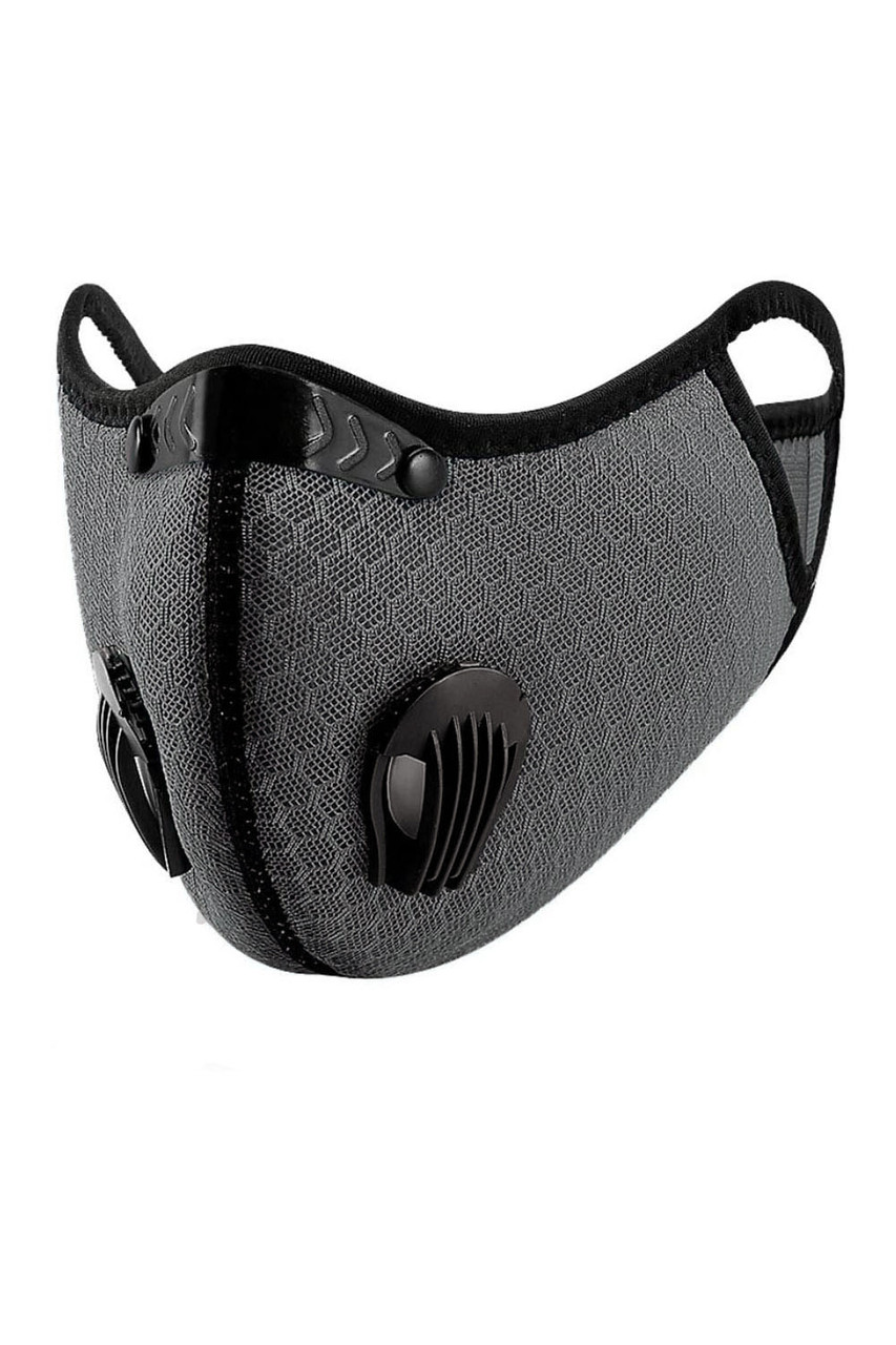 Angled left  front image view of Charcoal Dual Valve Mesh Sport Face Mask with PM2.5 Filter