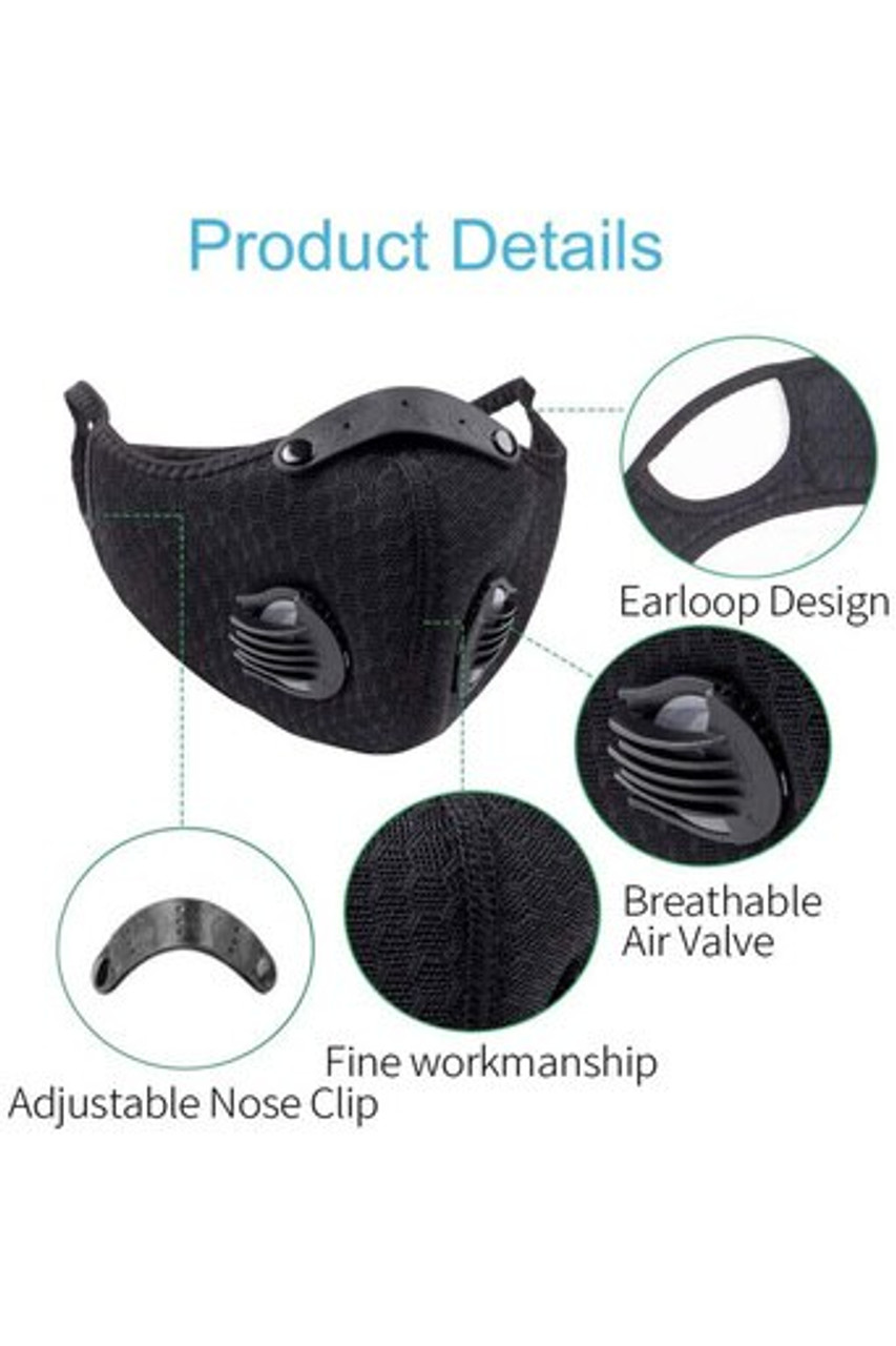 Image pointing out product details for Charcoal Dual Valve Mesh Sport Face Mask with PM2.5 Filter