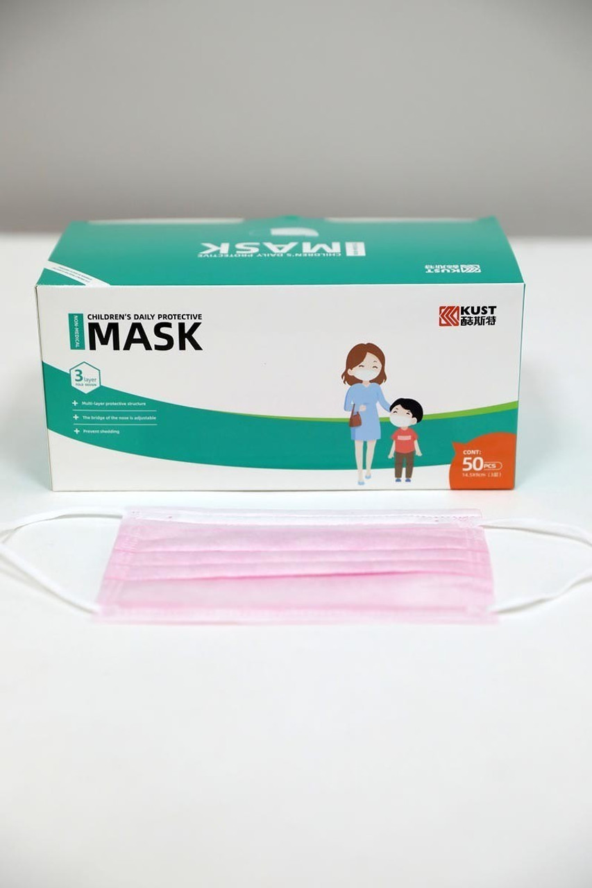 Pink 50 Piece Kid's Disposable Face Masks