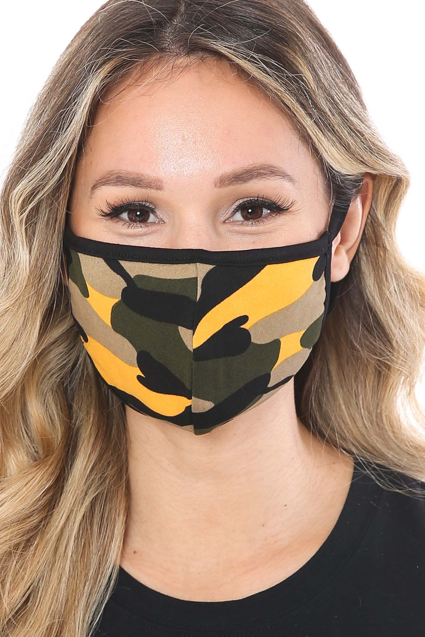 Mustard Colorful Camouflage Cotton Face Mask - Made in the USA