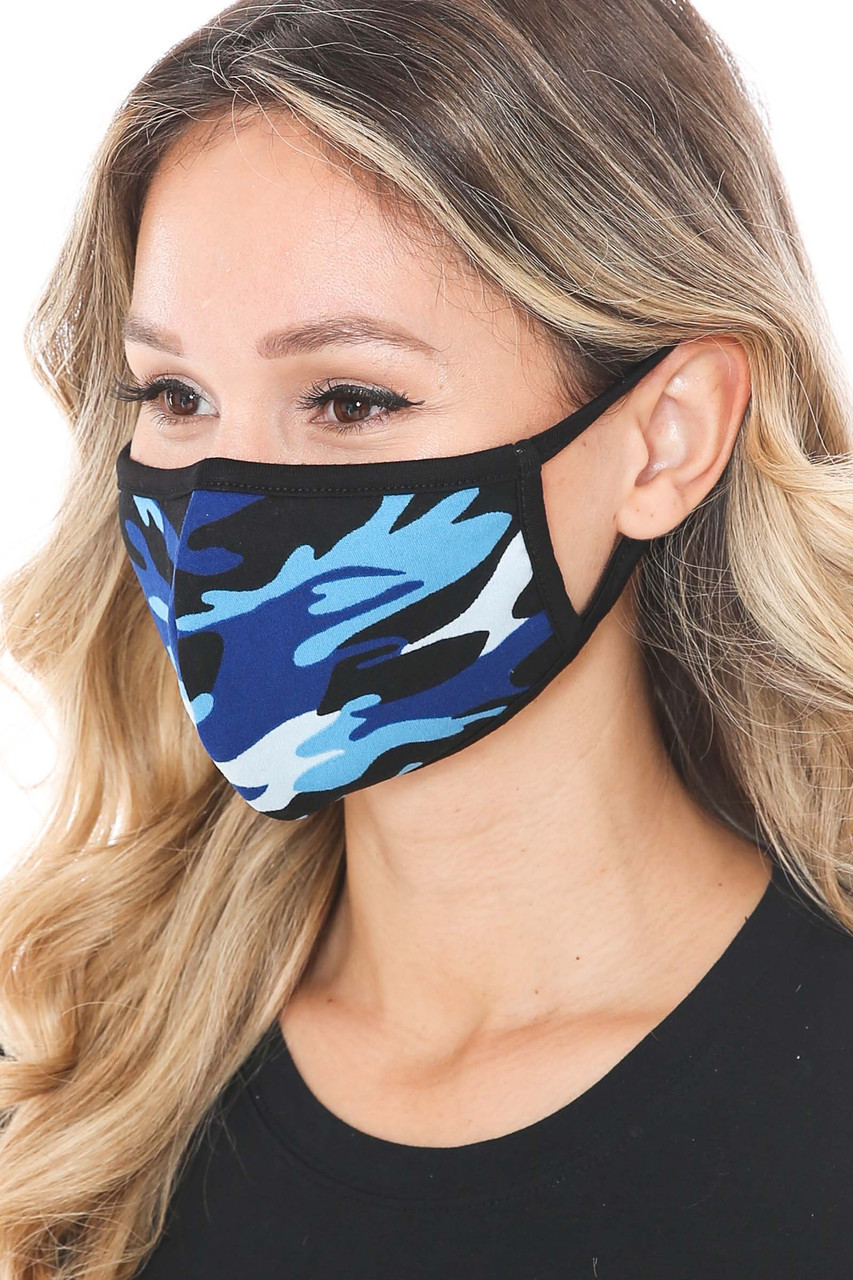 Left side of Blue Colorful Camouflage Cotton Face Mask - Made in the USA