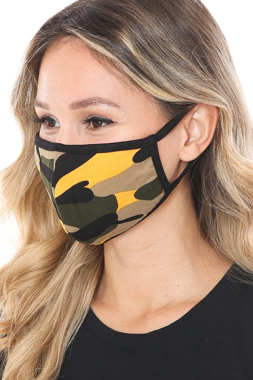 Left side of Mustard Colorful Camouflage Cotton Face Mask - Made in the USA