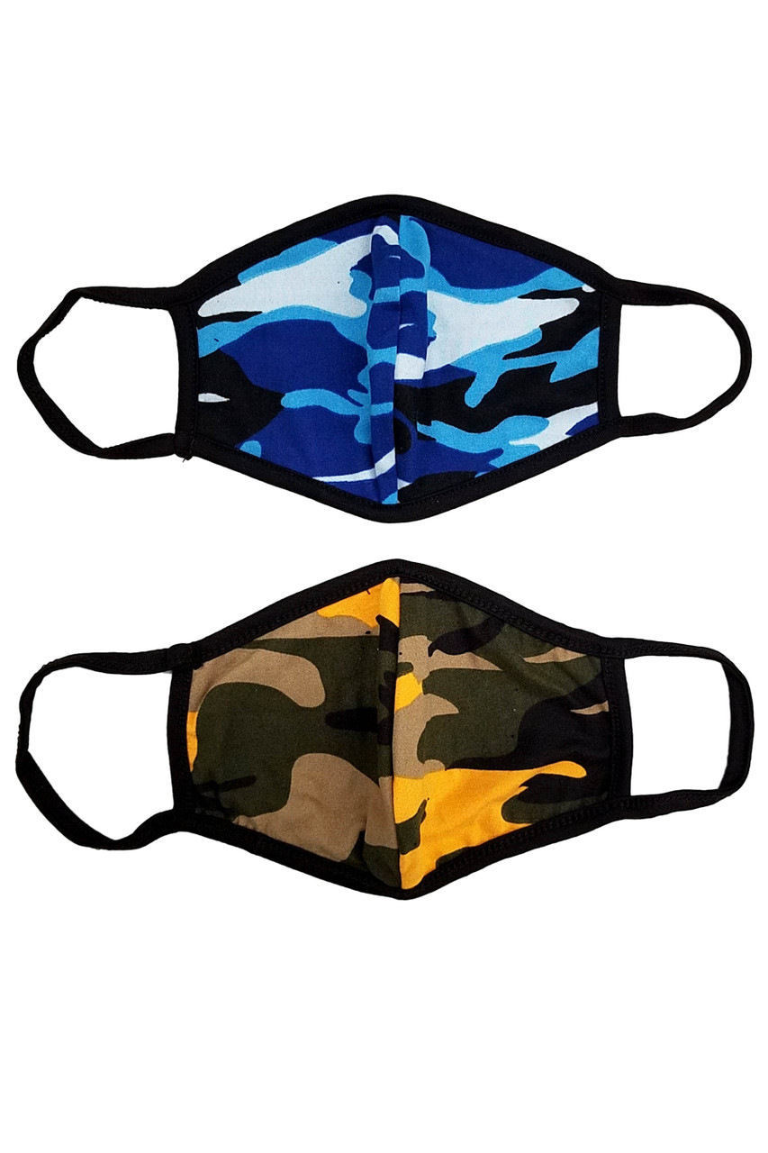 Stand alone Blue and Mustard Colorful Camouflage Cotton Face Mask - Made in the USA