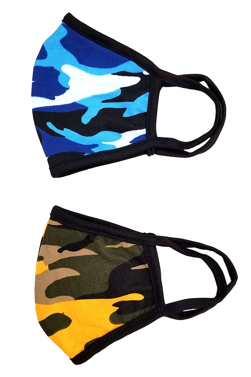 Right side folded Blue and Mustard Colorful Camouflage Cotton Face Mask - Made in the USA