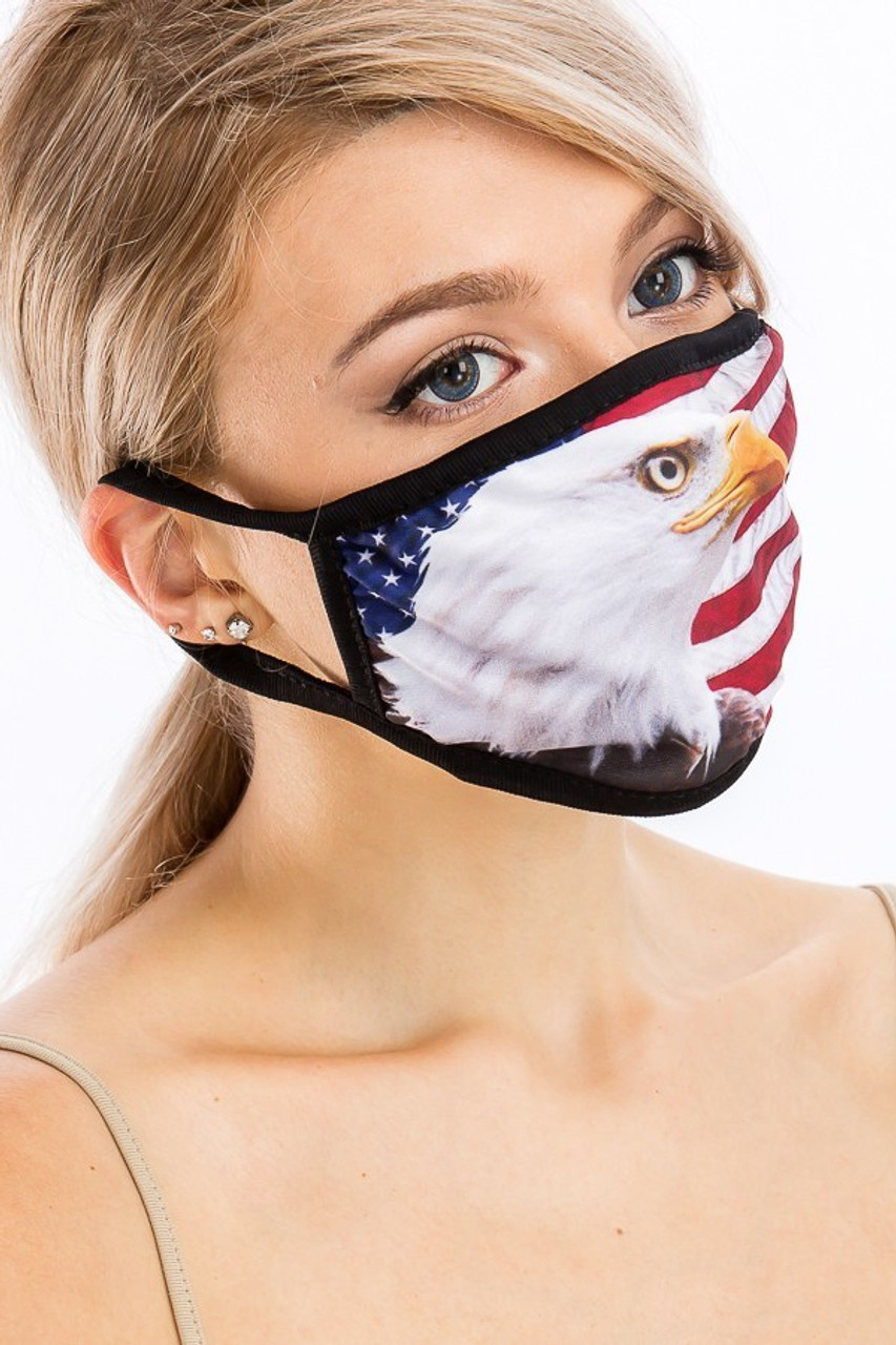 Right side view of USA American Eagle Face Mask