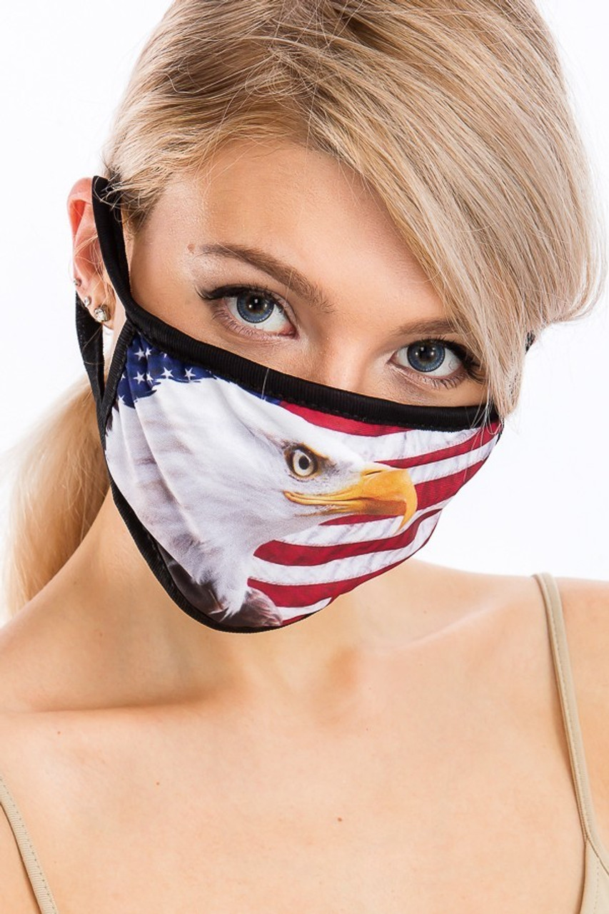 Front view of USA American Eagle Face Mask